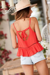 Back Cutout Peplum Top - Arona XO