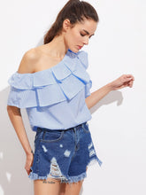 Load image into Gallery viewer, One Shoulder Stripe Ruffle Blouse - Arona XO