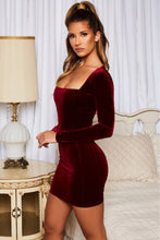 Load image into Gallery viewer, Square Neck Velvet Mini Dress - Arona XO