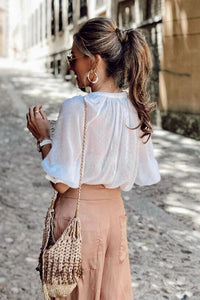 Loose Sheer Button-up Blouse - Arona XO