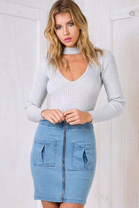 Long Sleeve Knit Bodysuit - Arona XO