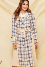Load image into Gallery viewer, Plaid Patchwork Trench Coat - Arona XO