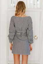 Load image into Gallery viewer, Gingham Off-the-Shoulder Wrap Mini Dress - Arona XO