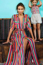 Load image into Gallery viewer, Rainbow Stripe Maxi Dress - Arona XO