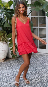 Sleeveless Sling Ruffle Mini Dress - Arona XO