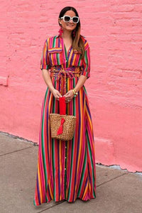 Rainbow Stripe Maxi Dress - Arona XO