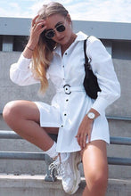 Load image into Gallery viewer, Lace-up Shirt Dress - Arona XO