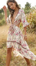 Load image into Gallery viewer, Plunge Lace-up Boho Mini Dress - Arona XO
