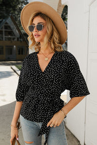 Polka Dot Wrap Blouse - Arona XO