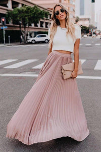 High Waisted Pleated Maxi Skirt - Arona XO