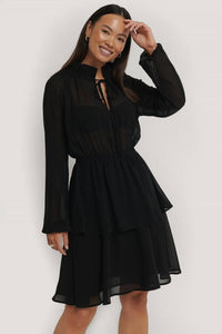 Sheer High Neck Mini Dress - Arona XO