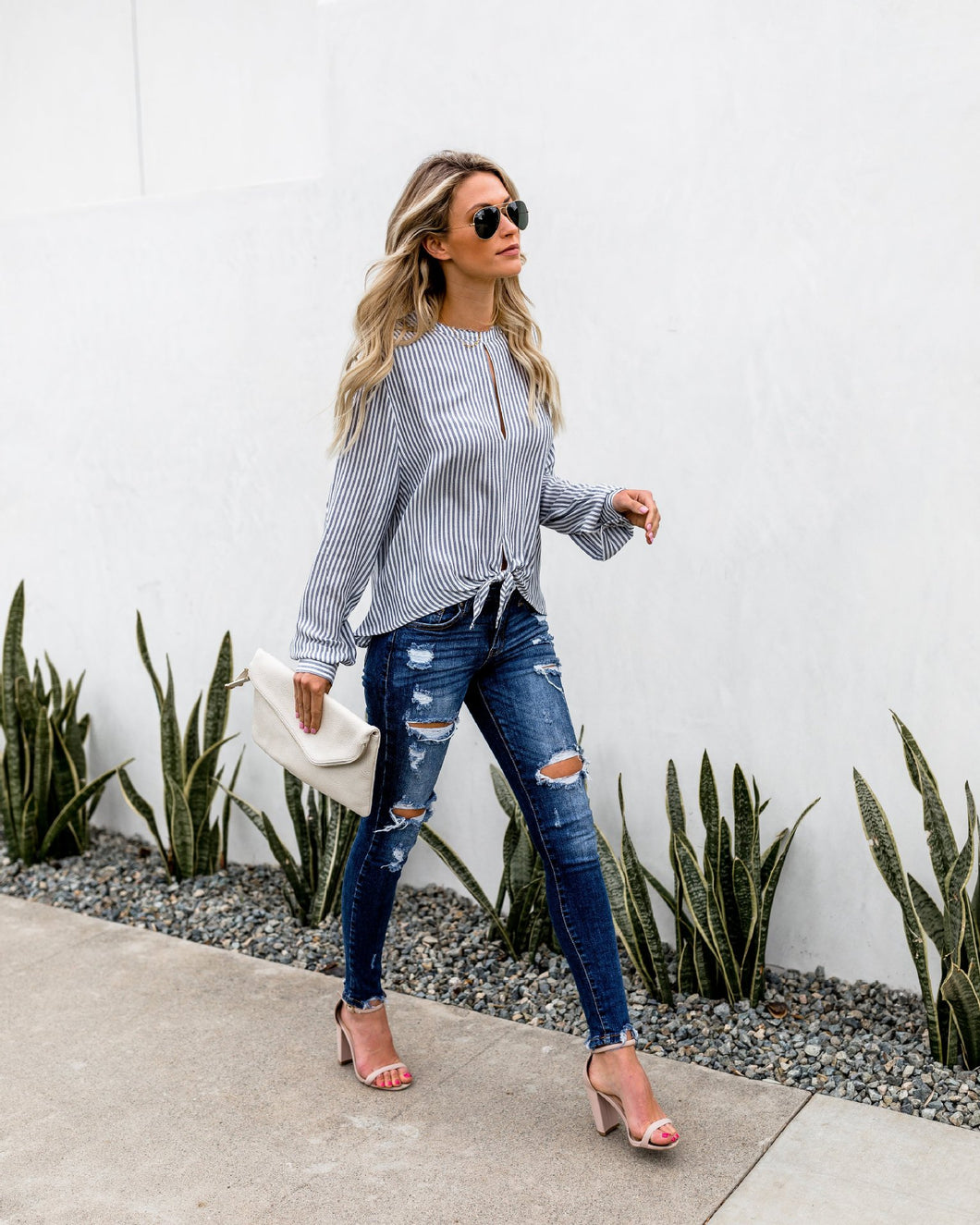 Knotted Long Sleeve Blouse - Arona XO