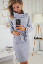 Load image into Gallery viewer, Lace-up Long Sleeve Knit Dress - Arona XO