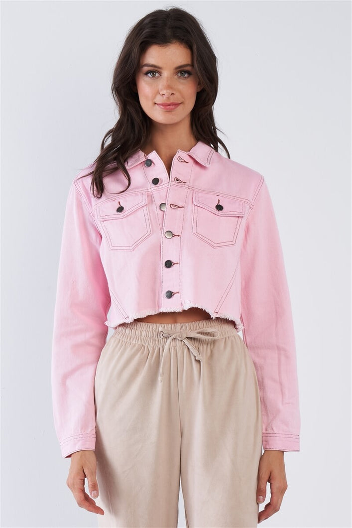 Pink Cropped Denim Jacket - Arona XO