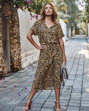 Load image into Gallery viewer, Leopard Lace-up Midi Dress - Arona XO