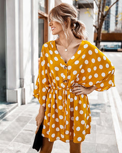Flowy Polka Dot Mini Dress - Arona XO