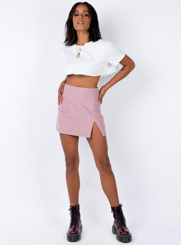 corduroy side slit mini skirt