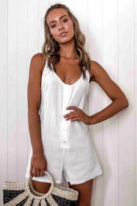 Sleeveless Button-Up Romper - Arona XO