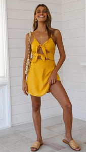 Knotted Sling Mini Dress - Arona XO