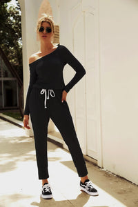Oblique Shoulder Long Sleeve Jumpsuit - Arona XO