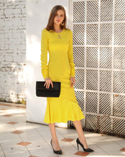 Load image into Gallery viewer, Long Sleeve Knit Flounce Midi Dress - Arona XO
