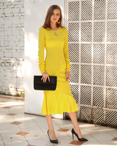 Long Sleeve Knit Flounce Midi Dress - Arona XO
