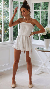 Ruffled Off-shoulder Romper - Arona XO