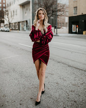 Load image into Gallery viewer, Velvet Wrap Mini Dress - Arona XO