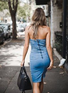 Off-the-Shoulder Denim Mini Dress - Arona XO
