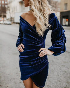 Velvet Wrap Mini Dress - Arona XO