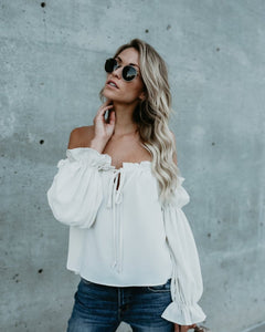 Off-the-Shoulder Drawstring Blouse - Arona XO