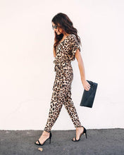 Load image into Gallery viewer, Short Sleeve Leopard Print Jumpsuit - Arona XO