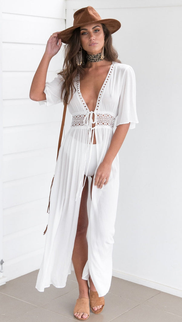 Long Crochet Swimsuit Cover-up Kimono - Arona XO