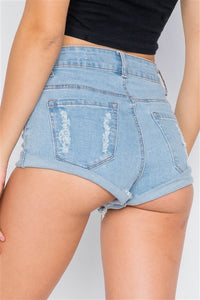 Light Blue Distressed Denim Shorts - Arona XO