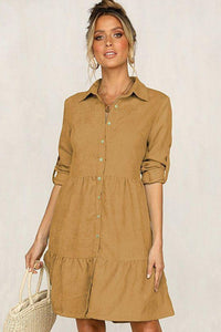 Single-Breasted Long Sleeve Shirt Dress - Arona XO