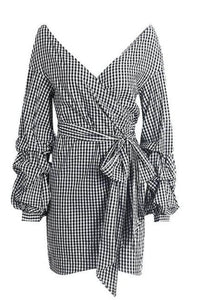 Gingham Off-the-Shoulder Wrap Mini Dress - Arona XO