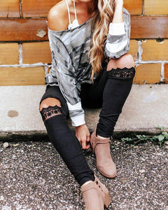 Slim Fit Lace Ripped Pants - Arona XO