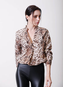 Long Sleeve Animal Print Blouse - Arona XO