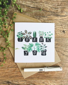 Katrina Sophia Potted Plants Thank You Card