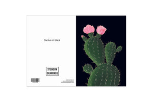 Stengun Drawings Cactus on Black Card