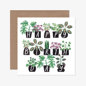 Katrina Sophia Potted Plants Happy Birthday Card