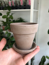 Load image into Gallery viewer, Mini 9cm Grey Terracotta Plant Pot And Saucer