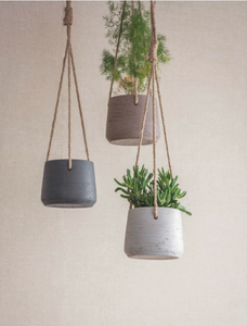 Dark Grey Small Cement Hanging Pot