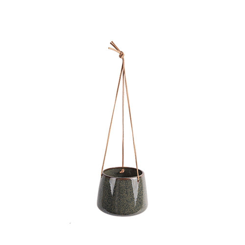 Green Glazed Hanging Plant Pot - *Local Delivery or Local Pick Up Only*