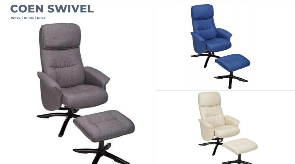 COEN SWIVEL CHAIR WITH FOOTSTOOL