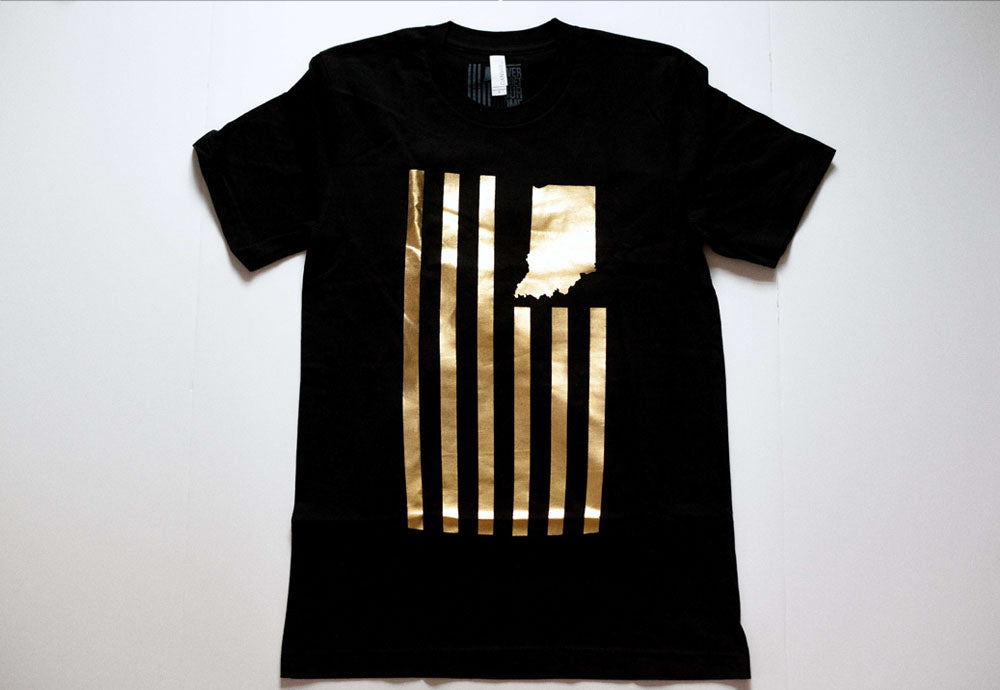United State of Indiana Gold Foil Tee Indianapolis Tee Purdue Black Gold Shirt