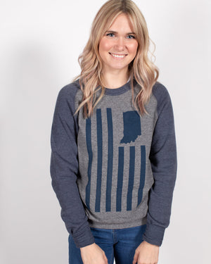 USI Flag Crewneck Sweatshirt - United State of Indiana: Indiana-Made T-Shirts and Gifts