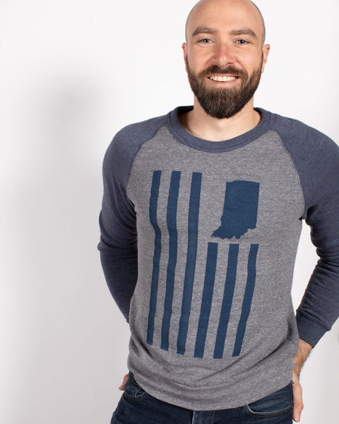 USI Flag Crewneck Sweatshirt ***CLEARANCE*** - United State of Indiana: Indiana-Made T-Shirts and Gifts