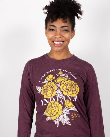 IN Bloom Long Sleeve Tee - United State of Indiana: Indiana-Made T-Shirts and Gifts