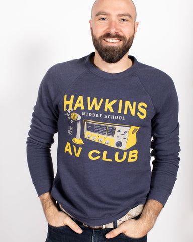 Hawkins A.V. Club Crewneck Sweatshirt ***CLEARANCE*** - United State of Indiana: Indiana-Made T-Shirts and Gifts